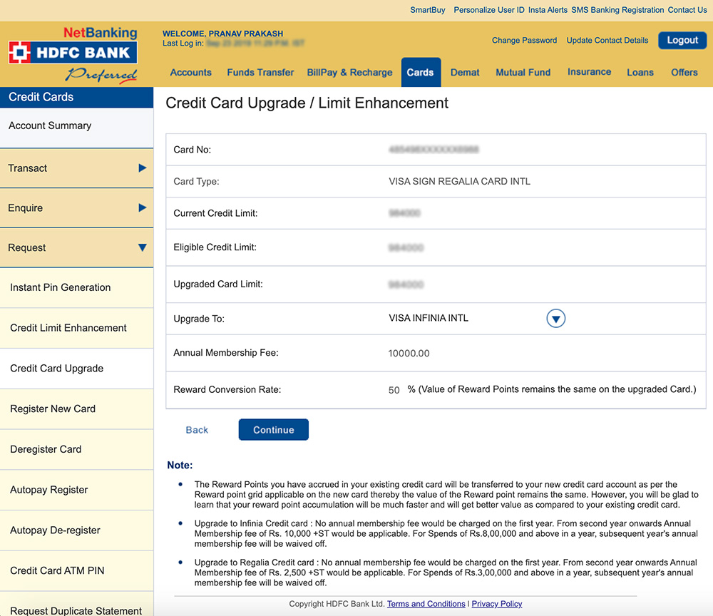 HDFC Bank Infinia Credit Card Upgrade Experience