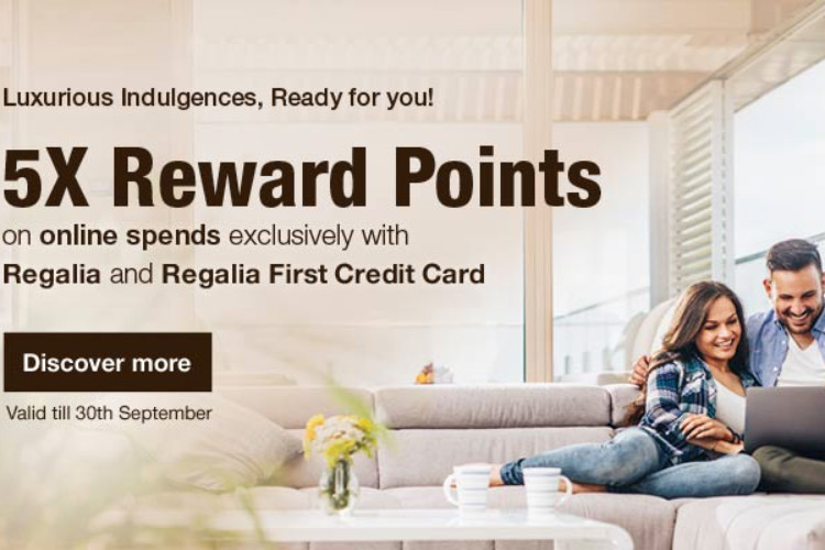 5X reward points on online spends with HDFC Regalia & Regalia First credit cards